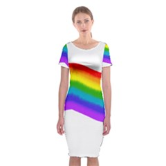 Watercolour Rainbow Colours Classic Short Sleeve Midi Dress by Nexatart