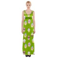 Cupcakes Pattern Maxi Thigh Split Dress by Valentinaart