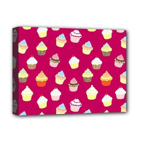 Cupcakes Pattern Deluxe Canvas 16  X 12   by Valentinaart