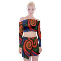 Simple Batik Patterns Off Shoulder Top With Skirt Set by Onesevenart