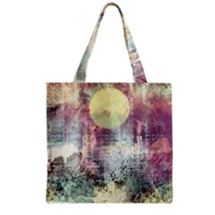 Frosty Pale Moon Grocery Tote Bag by theunrulyartist