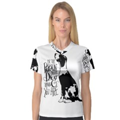 Dog Person Women s V Neck Sport Mesh Tee by Valentinaart