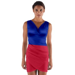 Civil Flag Of Haiti (without Coat Of Arms) Wrap Front Bodycon Dress by abbeyz71