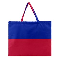 Civil Flag Of Haiti (without Coat Of Arms) Zipper Large Tote Bag by abbeyz71