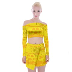 Texture Yellow Abstract Background Off Shoulder Top With Skirt Set by Nexatart
