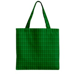 Pattern Green Background Lines Zipper Grocery Tote Bag by Nexatart