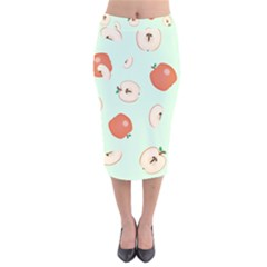 Apple Fruit Background Food Velvet Midi Pencil Skirt by Nexatart