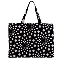 Dot Dots Round Black And White Zipper Mini Tote Bag by Nexatart