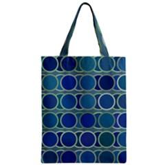Circles Abstract Blue Pattern Zipper Classic Tote Bag by Nexatart