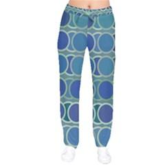 Circles Abstract Blue Pattern Drawstring Pants