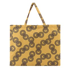 Abstract Shapes Links Design Zipper Large Tote Bag by Nexatart