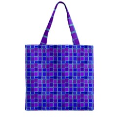 Background Mosaic Purple Blue Zipper Grocery Tote Bag by Nexatart