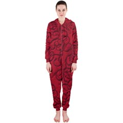 Christmas Background Red Star Hooded Jumpsuit (ladies)