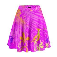 Spring Tropical Floral Palm Bird High Waist Skirt by Nexatart
