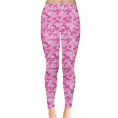 Shocking Pink Camouflage Pattern Leggings  by tarastyle