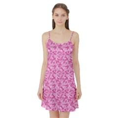 Shocking Pink Camouflage Pattern Satin Night Slip by tarastyle