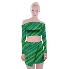 Stripes Course Texture Background Off Shoulder Top With Skirt Set by Nexatart