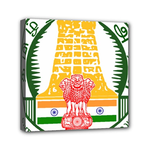 Seal Of Indian State Of Tamil Nadu  Mini Canvas 6  X 6  by abbeyz71
