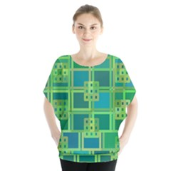 Green Abstract Geometric Blouse by Nexatart