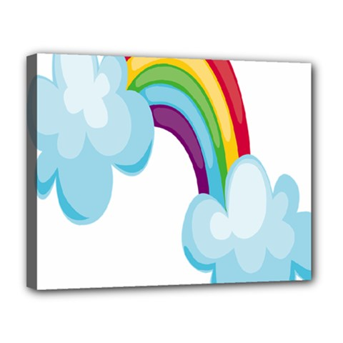 Could Rainbow Red Yellow Green Blue Purple Canvas 14  X 11  by Mariart
