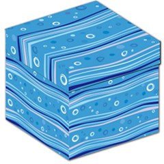 Blue Circle Line Waves Storage Stool 12   by Mariart