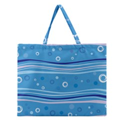 Blue Circle Line Waves Zipper Large Tote Bag by Mariart