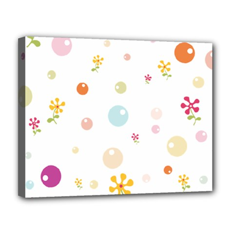 Flower Floral Star Balloon Bubble Canvas 14  X 11  by Mariart