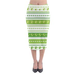 Flower Floral Green Shamrock Midi Pencil Skirt by Mariart