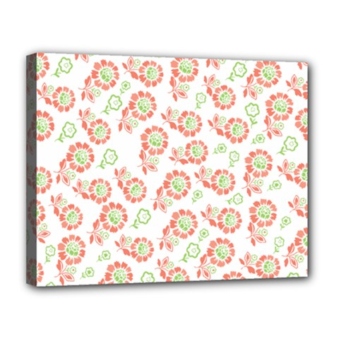 Flower Floral Red Star Sunflower Canvas 14  X 11  by Mariart