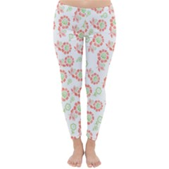 Flower Floral Red Star Sunflower Classic Winter Leggings by Mariart