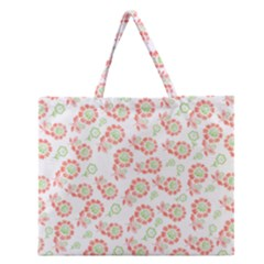 Flower Floral Red Star Sunflower Zipper Large Tote Bag by Mariart