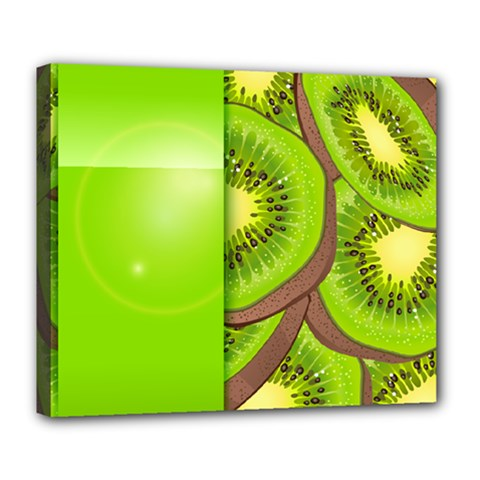 Fruit Slice Kiwi Green Deluxe Canvas 24  X 20   by Mariart
