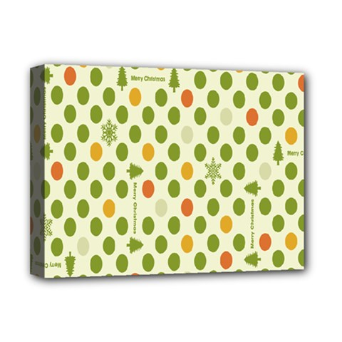 Merry Christmas Polka Dot Circle Snow Tree Green Orange Red Gray Deluxe Canvas 16  X 12   by Mariart