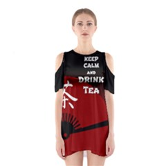 Keep Calm And Drink Tea   Dark Asia Edition Cutout Shoulder Dress by cglightNingART