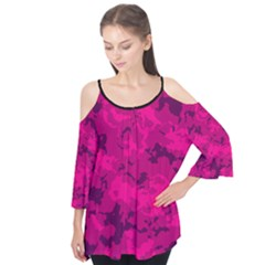 Pink Camouflage Flutter Sleeve Tee  by cglightNingART