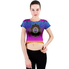Air And Stars Global With Some Guitars Pop Art Crew Neck Crop Top by pepitasart