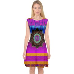 Air And Stars Global With Some Guitars Pop Art Capsleeve Midi Dress by pepitasart