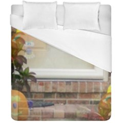 Ghostly Floating Pumpkins Duvet Cover Double Side (california King Size) by canvasngiftshop