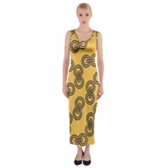 Abstract Shapes Links Design Fitted Maxi Dress