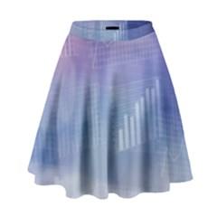 Business Background Blue Corporate High Waist Skirt by Nexatart