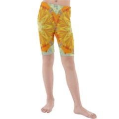 Sunshine Sunny Sun Abstract Yellow Kids  Mid Length Swim Shorts by Nexatart