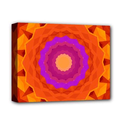 Mandala Orange Pink Bright Deluxe Canvas 14  X 11  by Nexatart