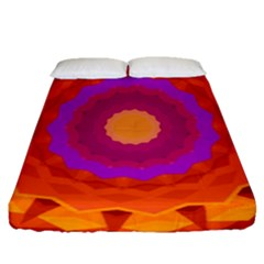 Mandala Orange Pink Bright Fitted Sheet (queen Size)
