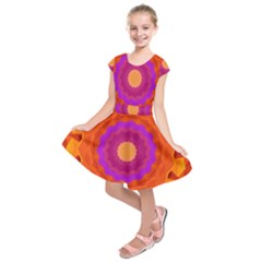 Mandala Orange Pink Bright Kids  Short Sleeve Dress