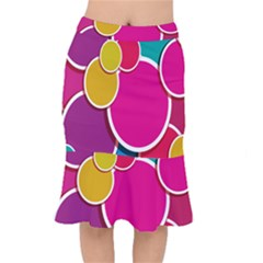 Paint Circle Red Pink Yellow Blue Green Polka Mermaid Skirt