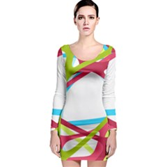 Nets Network Green Red Blue Line Long Sleeve Bodycon Dress by Mariart