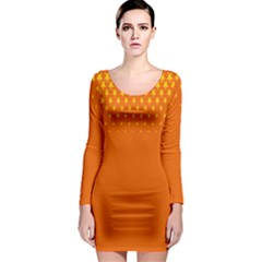 Orange Star Space Long Sleeve Bodycon Dress by Mariart