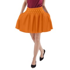 Orange Star Space A Line Pocket Skirt by Mariart