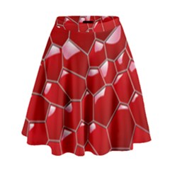 Plaid Iron Red Line Light High Waist Skirt by Mariart