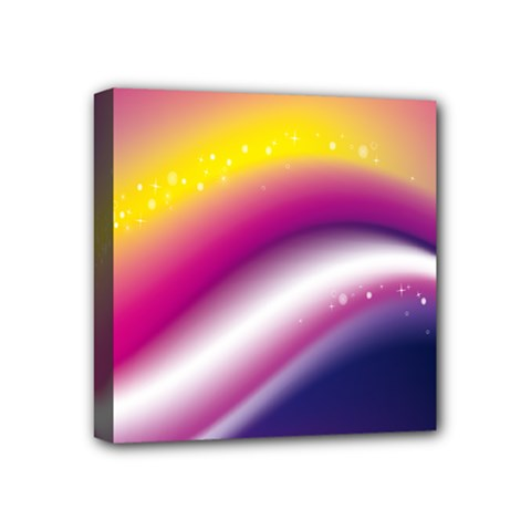 Rainbow Space Red Pink Purple Blue Yellow White Star Mini Canvas 4  X 4  by Mariart